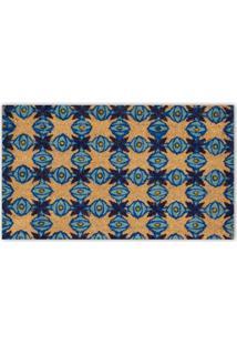 Capacho Em Fibra De Coco Geométrico 45X75Cm Azul