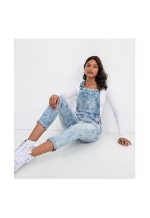 Macacão Jeans Com Bolsos E Puídos | Blue Steel | Azul | Pp