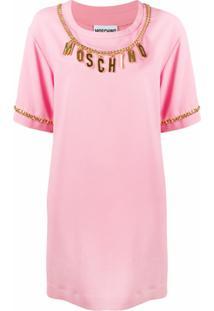 Moschino Vestido Com Logo - Rosa