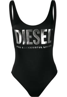 Diesel Maiô Com Estampa De Logo - Preto
