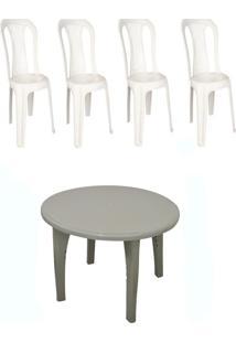 Conj. Mesa Mariana 4 Cadeiras Branca Bistrô 3 Jogos Antares