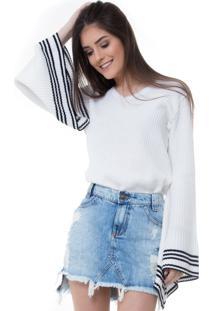 Blusa Rosa Line Jeans De Tricot Classic