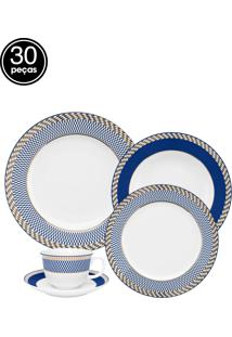 Aparelho De Jantar E Chá Oxford Porcelana Flamingo Op Art 30 Pçs Branco/Azul