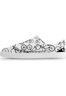 Tênis Usthemp One Vegano Casual Estampa Bikes Branco
