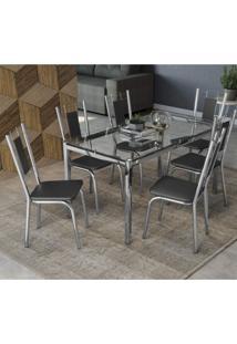 Conjunto Sala De Jantar Mesa Tampo De Vidro Reno E 6 Cadeiras Florença Crome Kappesberg Cromado/Preto