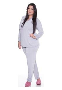 Pijama Longo Liganete Com Renda E-Pijama (5432) Plus Size