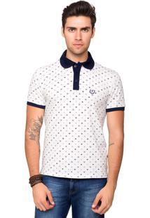 Camisa Polo Piquet Tony Menswear Com Elastano E Micro Estampa Branco