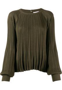 Chloé Blusa De Tricô Com Pregas - Verde
