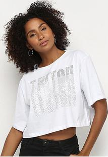 Camiseta Triton Estampada Cropped Feminina - Feminino-Branco