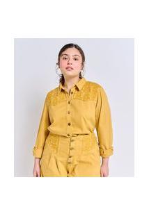 Camisa Manga Longa Em Sarja Com Bordados Curve & Plus Size | Ashua Curve E Plus Size | Amarelo | G