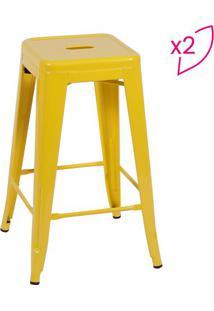 Jogo De Banquetas Retrã´- Amarelo- 2Pã§S- Or Desigor Design