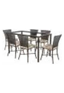 Jogo De Jantar 6 Cadeiras Turquia Tabaco A14 E 1 Mesa Retangular Sem Tampo Ideal Para Área Externa Coberta