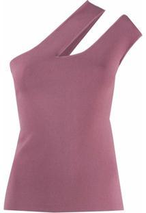 Nanushka Blusa Ombro Único Com Recorte Vazado - Roxo