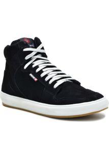 Tênis Sneaker Galway Cano Alto Masculino - Masculino-Preto