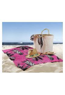 Toalha De Praia / Banho Tropical Flamingo Único