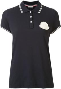 Moncler Blusa Polo Com Patch De Logo - Azul