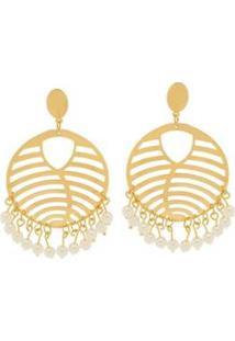 Brinco Le Diamond Chapa Com Pérolas - Feminino-Dourado