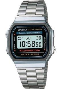 11992cdef7dc ... Relógio Feminino Casio Vintage Digital Fashion A168Wa 1Wdf - Unissex -Prata