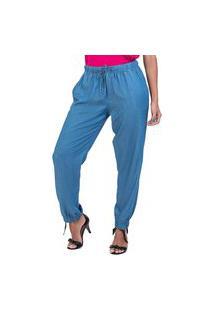 Calça Jogging Bloom Jeans Leve Elástico Cintura Azul