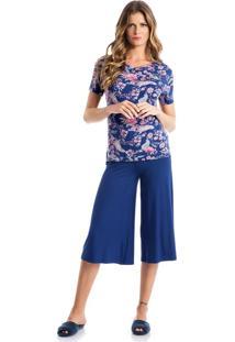 Pijama Topazio Pantacourt Azul Reggae/P
