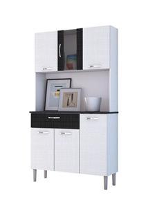 Kit Cozinha Compacta Armário Pan 06 Portas Branco Com Linho Branco E C