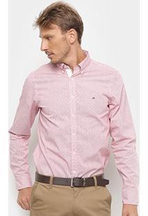 Camisa Manga Longa Tommy Hilfiger Masculina - Masculino-Rosa