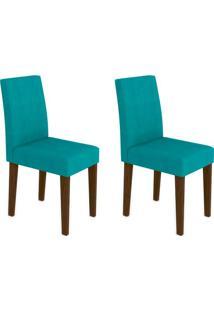 Conjunto Com 2 Cadeiras Giovana Castanho E Turquesa