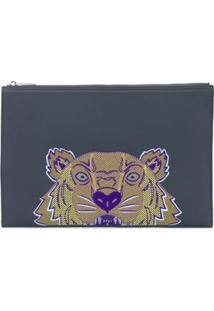 Kenzo Embroidered Tiger Clutch Bag - Cinza
