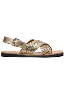 Car Shoe Sandália Com Efeito De Brilho E Fechamento No Tornozelo - Dourado