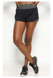 Body For Sure Short Com Recortes Preto & Branco