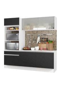 Cozinha Compacta Madesa Topazio Com Balcão E Tampo Branco/Preto
