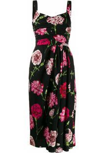 Dolce & Gabbana Vestido Midi Com Estampa Floral - Preto