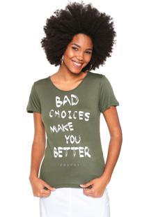 Camiseta Colcci Bad Choices Verde
