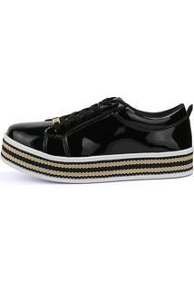 Tênis Sapatênis Casual Cr Shoes Verniz Preto