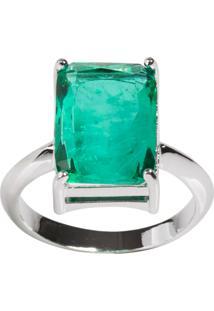 Anel Retangular The Ring Boutique Pedra Cristal Turmalina Fusion Ródio Ouro Branco