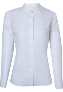 Camisa Dudalina Manga Longa Cetim Maquinetado Feminina (Branco, 38)