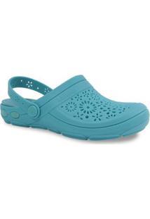Sandálias Babuch Boa Onda Vazado Feminino - Feminino-Azul