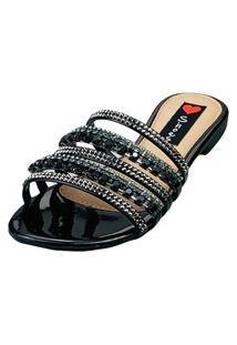 Sandalia Rasteira Love Shoes Bico Redondo Tiras Strass Pedrarias Verniz Preto