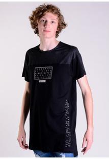 Camiseta Alongada Preta Recortes Suede