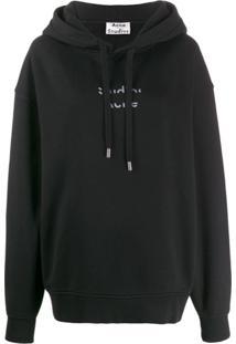 Acne Studios Suéter Com Recortes E Logo - Preto