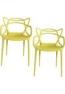Kit 2 Cadeiras Decorativas Para Sala De Jantar Amsterdam F01 Amarela -