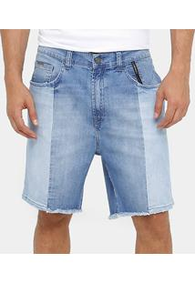 Bermuda Jeans Ellus 2Nd Floor Recorte Denim Bicolor Masculina - Masculino