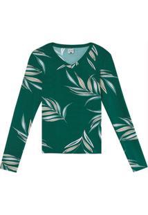 Blusa Verde Em Viscose Conforto Gola V