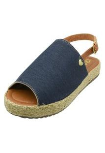Sandália Romântica Calçados Flatform Coraçáo Azul Jeans