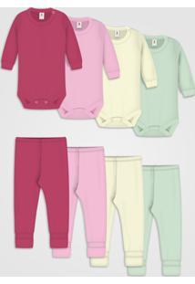 Kit 10Pçs Body Culote Zupt Baby Enxoval Rosa - Kanui