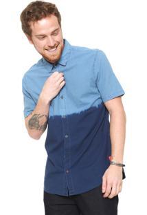 Camisa Jeans Calvin Klein Jeans Slim Degradê Azul