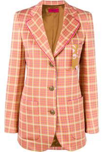 The Gigi Fitted Tartan Jacket - Laranja