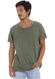 Camiseta Joss Estonada Corte À Fio Masculina - Masculino-Verde Militar