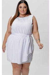 Vestido Plus Size Branco Com Faixa Na Cintura