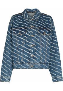 Alexander Wang Diagonal-Logo Denim Jacket - Azul